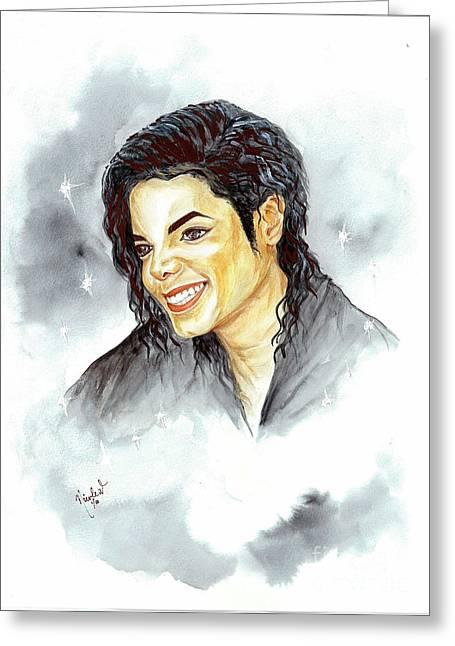 Mj Greeting Cards - Michael Jackson - Smile Greeting Card by Nicole Wang