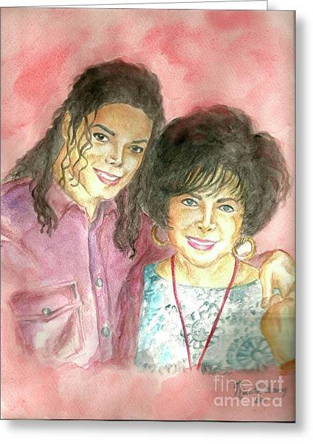 Mj Greeting Cards - Michael Jackson and Elizabeth Taylor Greeting Card by Nicole Wang