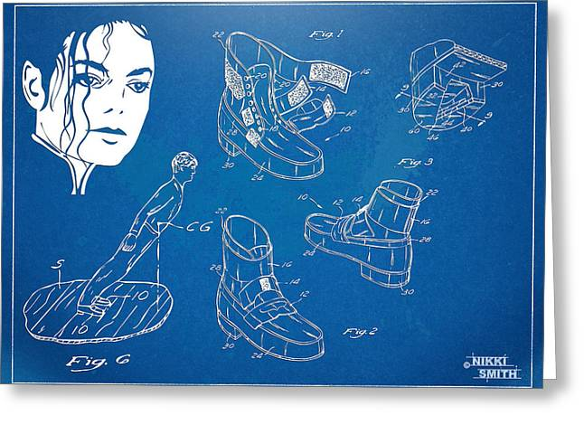 Smooth Criminal Greeting Cards - Michael Jackson Anti-Gravity Shoe Patent Artwork Greeting Card by Nikki Marie Smith