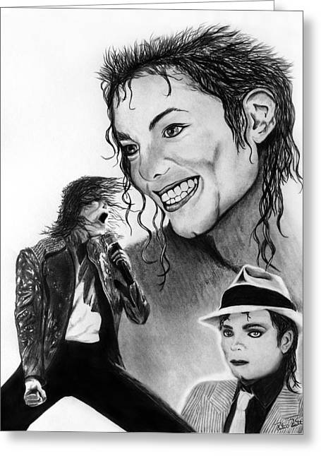 King Of Pop Drawings Greeting Cards - Michael Jackson Faces to Remember Greeting Card by Peter Piatt