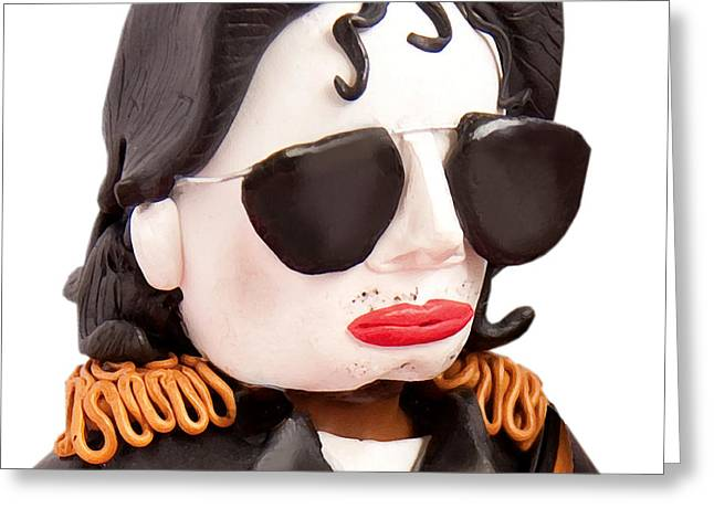 Pop Singer Sculptures Greeting Cards - Michael Jackson Greeting Card by Louisa Houchen