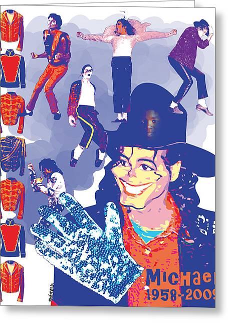 Mark Armstrong Greeting Cards - Michael Jackson Greeting Card by Mark Armstrong