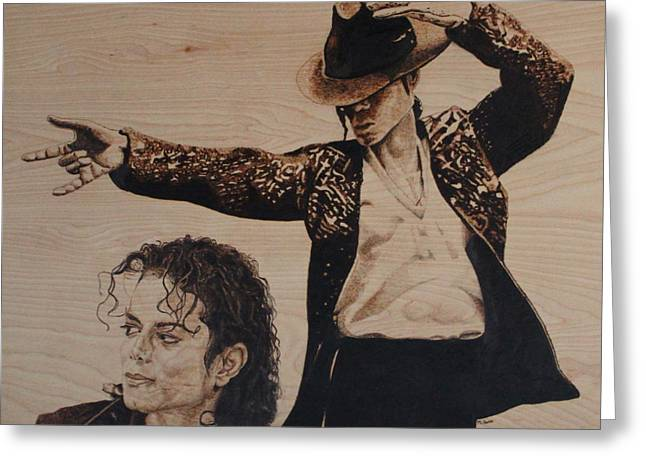 Glove Pyrography Greeting Cards - Michael Jackson Greeting Card by Michael Garbe