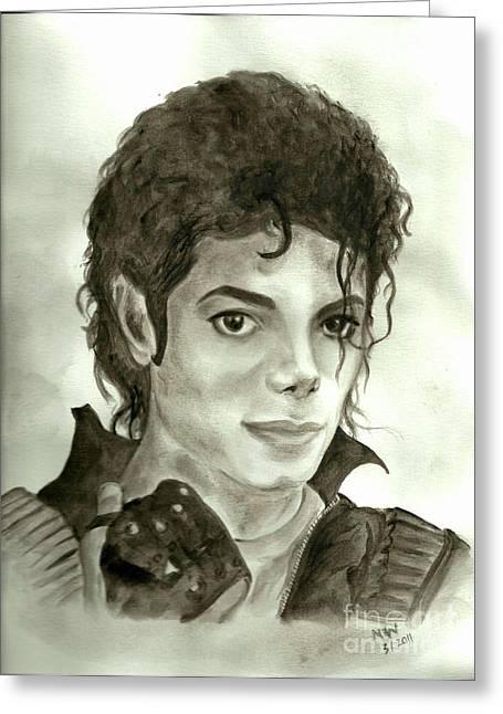 Mj Greeting Cards - Michael Jackson Greeting Card by Nicole Wang