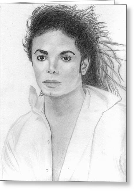 Michael Jackson Sketch Greeting Cards - Michael Jackson Greeting Card by Pat Moore