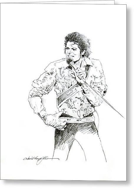 Dancing Drawings Greeting Cards - Michael Jackson Royalty Greeting Card by David Lloyd Glover