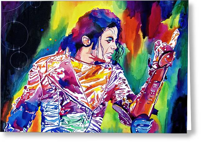 Singer Paintings Greeting Cards - Michael Jackson Showstopper Greeting Card by David Lloyd Glover