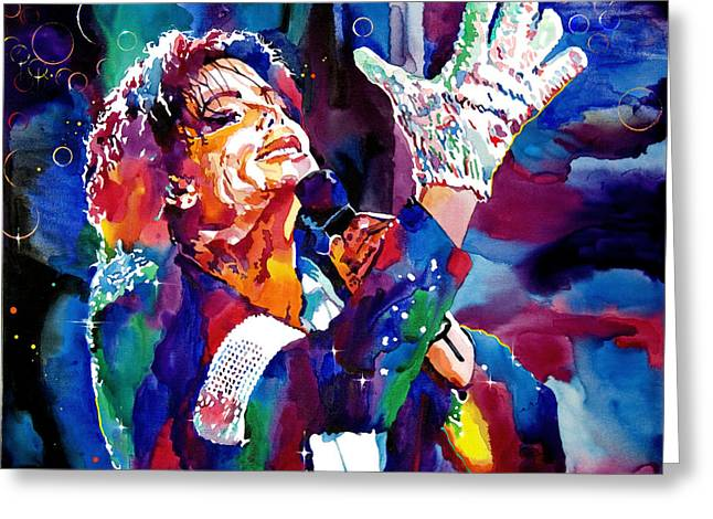 King Greeting Cards - Michael Jackson Sings Greeting Card by David Lloyd Glover