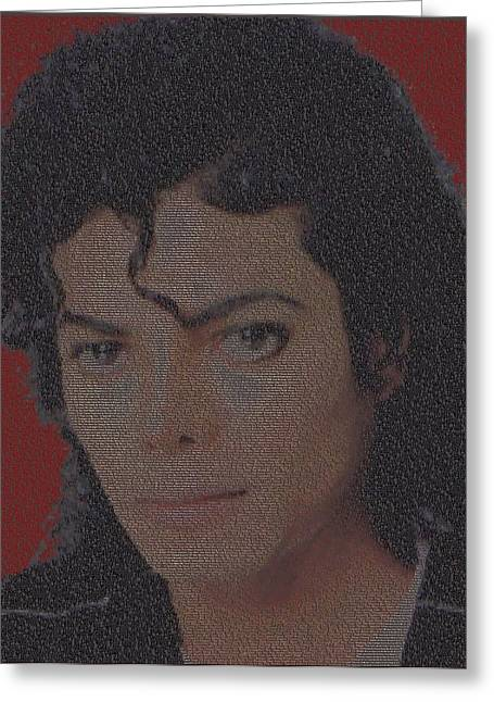 Mj Digital Greeting Cards - Michael Jackson Songs Mosaic Greeting Card by Paul Van Scott