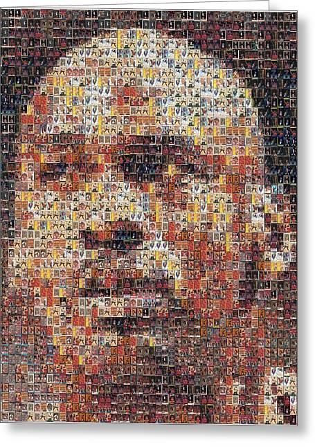 Jordan Mixed Media Greeting Cards - Michael Jordan Card Mosaic 3 Greeting Card by Paul Van Scott