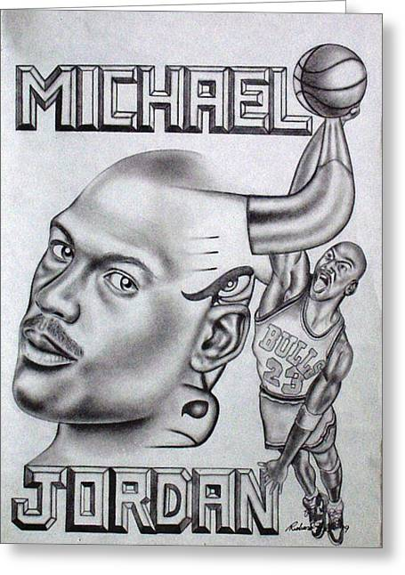 Refurbished Photos Drawings Greeting Cards - Michael Jordan Double Exposure Greeting Card by Rick Hill
