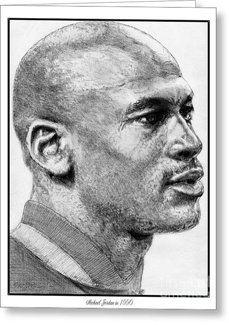 Michael Jordan Sketch Greeting Cards - Michael Jordan in 1990 Greeting Card by J McCombie