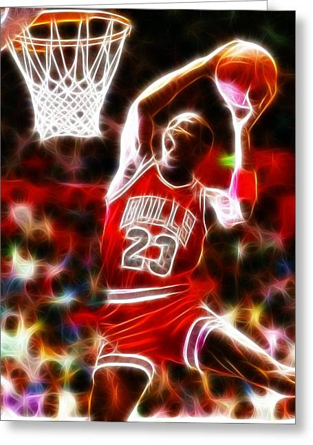Chicago Bulls Greeting Cards - Michael Jordan Magical Dunk Greeting Card by Paul Van Scott