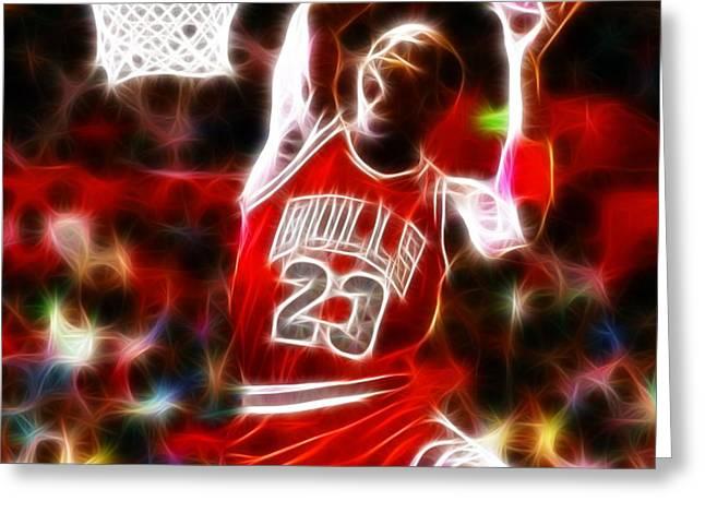 Michael Jordan Magical Dunk Greeting Card by Paul Van Scott