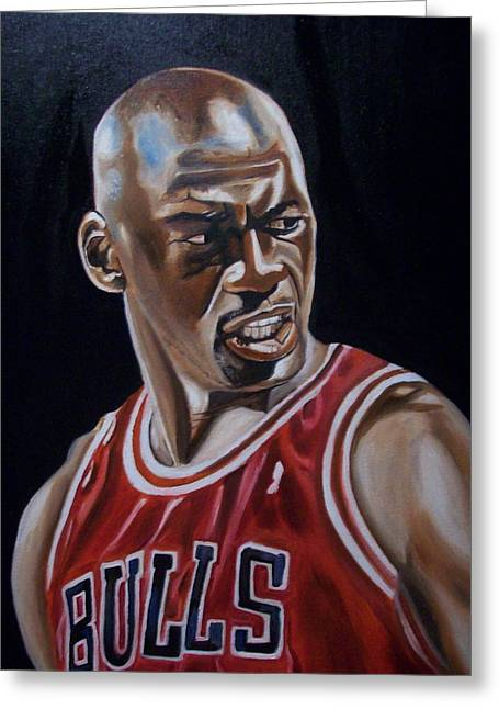 Chicago Bulls Greeting Cards - Michael Jordan Greeting Card by Mikayla Henderson
