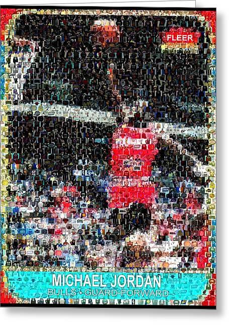 Jordan Mixed Media Greeting Cards - Michael Jordan Rookie Mosaic Greeting Card by Paul Van Scott