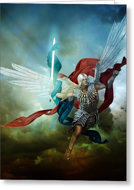 Angelic Greeting Cards - Michael Greeting Card by Karen H