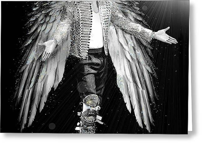 Michael King of Angels Greeting Card by Karine Percheron-Daniels