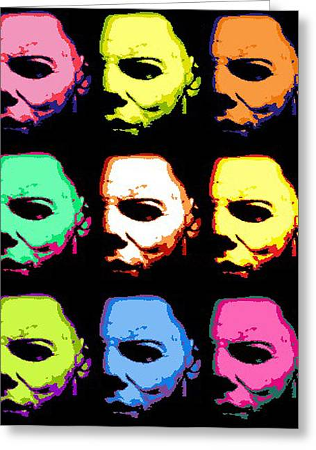 Colrful Greeting Cards - Michael Myers Mask Pop Art Greeting Card by Paul Van Scott