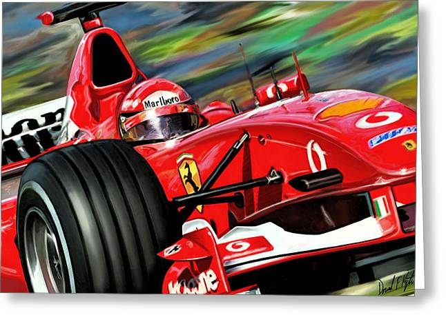 Racing Car Greeting Cards - Michael Schumacher Ferrari Greeting Card by David Kyte