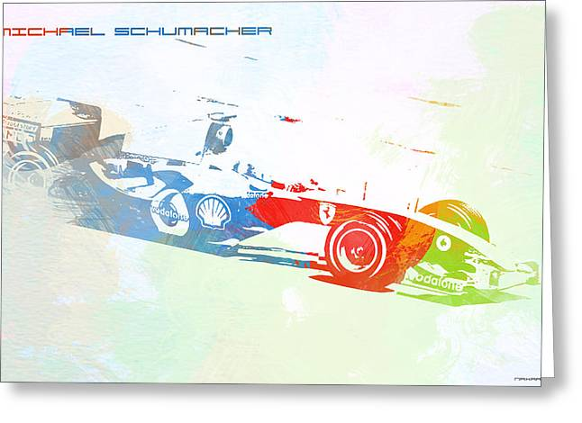 Cylinder Greeting Cards - Michael Schumacher Greeting Card by Naxart Studio
