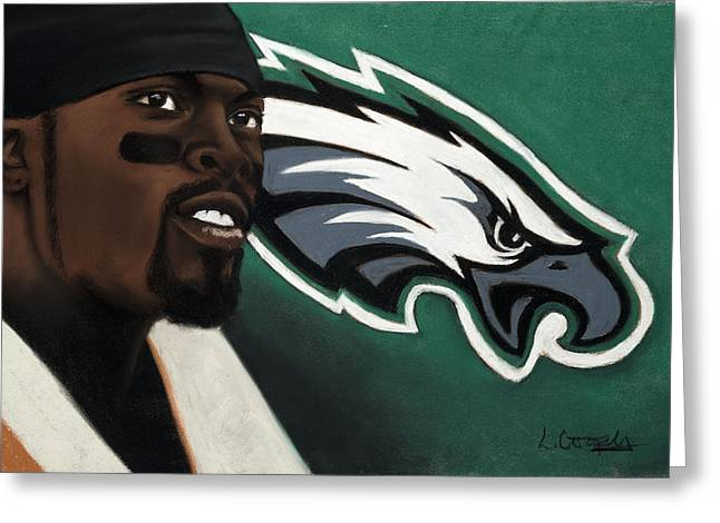 Football Pastels Greeting Cards - Michael Vick Greeting Card by L Cooper