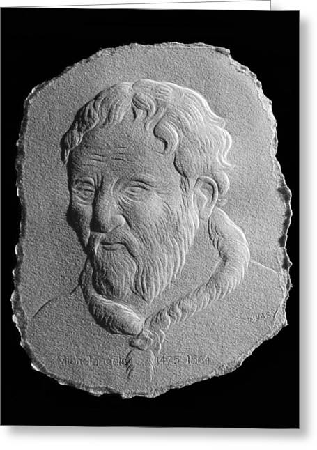 Famous Reliefs Greeting Cards - Michelangelo Greeting Card by Suhas Tavkar