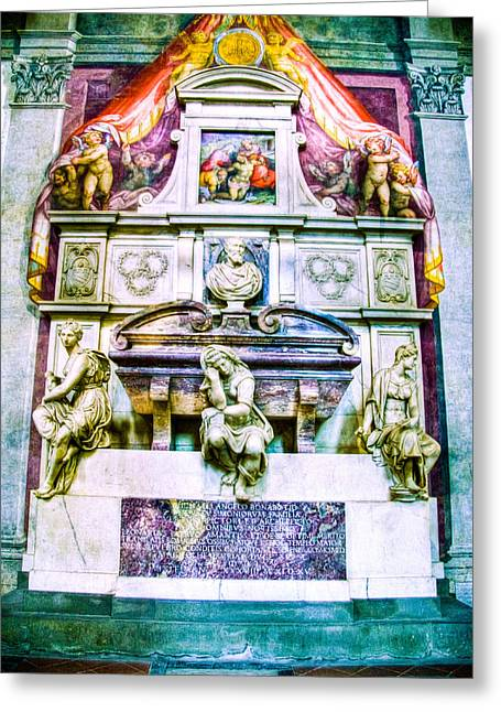 Michelangelo Greeting Cards - Michelangelo Tomb Florence Italy Greeting Card by Jon Berghoff