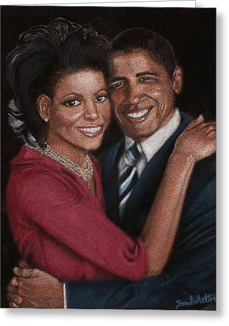 Michelle Obama Greeting Cards - Michelle and Barack Greeting Card by Diane Bombshelter