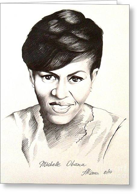 First Lady Drawings Greeting Cards - Michelle Obama Greeting Card by A Karron