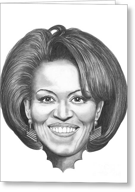 First Lady Drawings Greeting Cards - Michelle Obama Greeting Card by Murphy Elliott