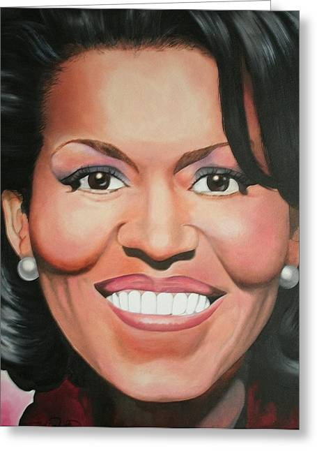 Portrait Of Michelle Obama Greeting Cards - Michelle Obama Greeting Card by Timothe Winstead