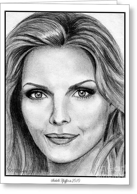 Jem Fine Arts Greeting Cards - Michelle Pfeiffer in 2010 Greeting Card by J McCombie