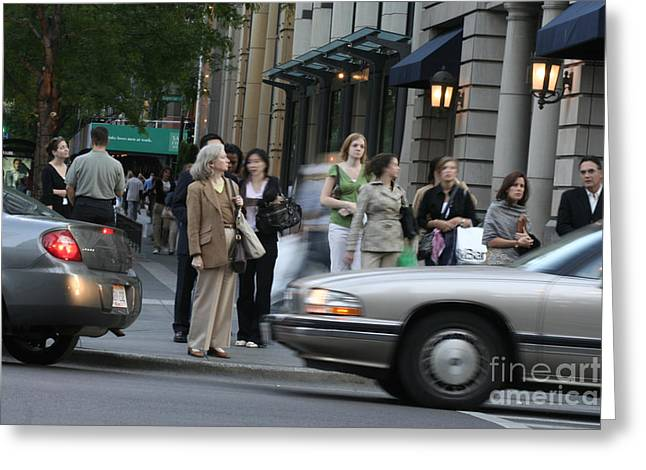 Magnificent Mile Greeting Cards - Michigan Avenue Street Corner Greeting Card by Christopher Purcell