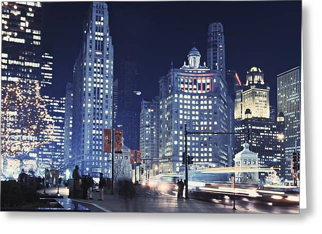 Cars In Winter Greeting Cards - Michigan Avenue Traffic At Night Greeting Card by Axiom Photographic