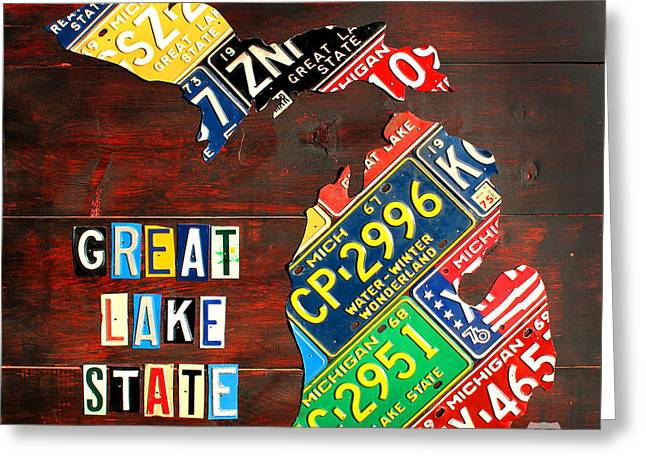 Road Travel Greeting Cards - Michigan License Plate Map Greeting Card by Design Turnpike