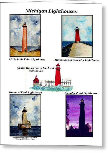 Collages Drawings Greeting Cards - Michigan Lighthouses Collage Greeting Card by Michael Vigliotti