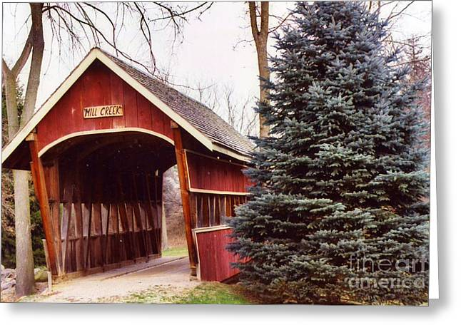 Covered Bridge Photographs Greeting Cards - Michigan Red Covered Bridge Nature Landscape Greeting Card by Kathy Fornal