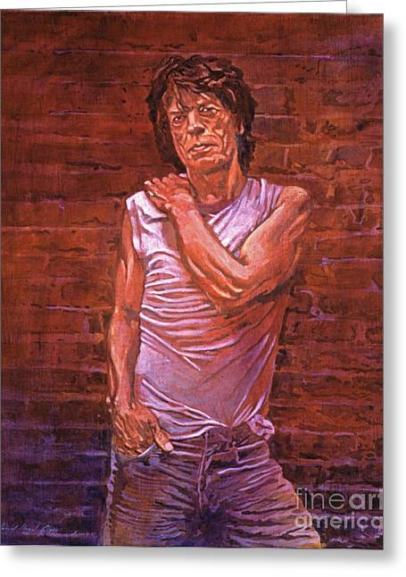 The Stones Greeting Cards - Mick Jagger Greeting Card by David Lloyd Glover