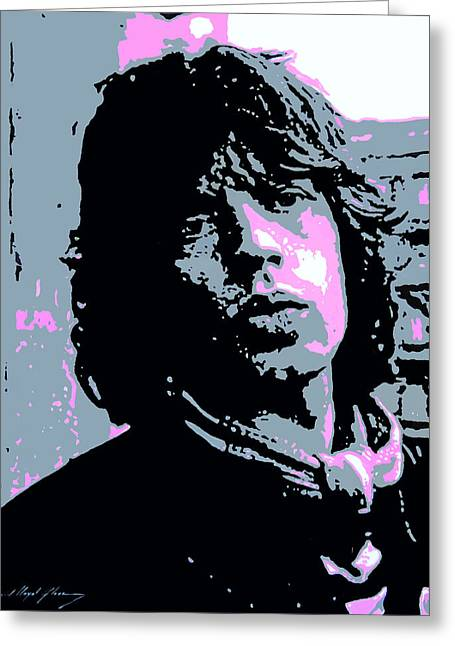 Rock N Roll Greeting Cards - Mick Jagger in London Greeting Card by David Lloyd Glover