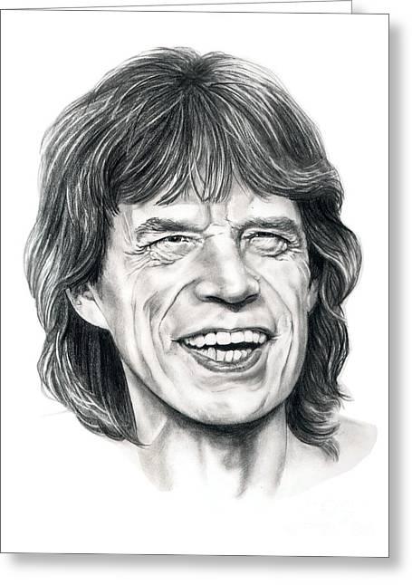 Rocks Drawings Greeting Cards - Mick Jagger Greeting Card by Murphy Elliott