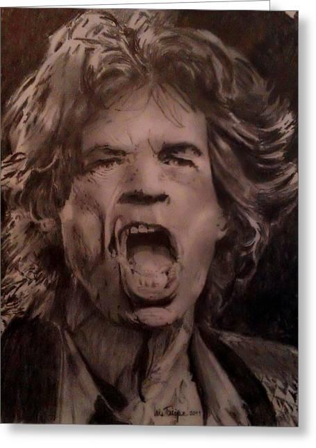 British Celebrities Drawings Greeting Cards - Mick Jagger one Greeting Card by Luis  Felipe