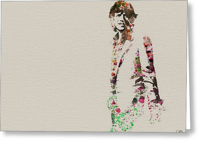 Rock Stars Paintings Greeting Cards - Mick Jagger watercolor Greeting Card by Naxart Studio