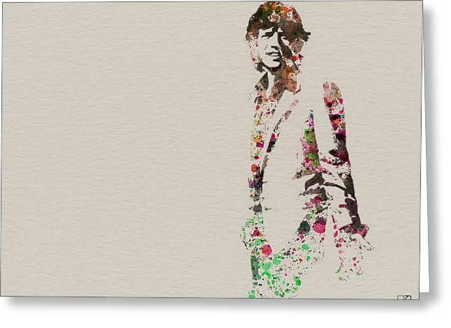 Mick Jagger watercolor Greeting Card by Naxart Studio