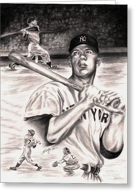 Yankees Drawings Greeting Cards - Mickey Mantle Greeting Card by Kathleen Kelly Thompson