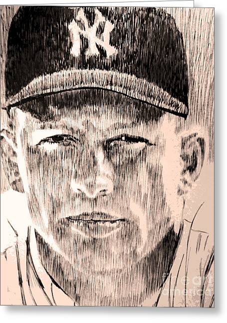 Mickey Mantle Portrait Greeting Cards - Mickey Mantle Greeting Card by Robbi  Musser