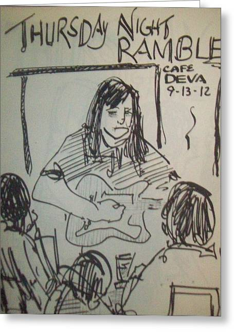 Night Cafe Drawings Greeting Cards - Micole at Thursday Night Ramble  Greeting Card by James  Christiansen