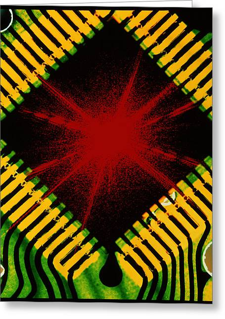 Microprocessor Greeting Cards - Microchip And Laser Pattern Greeting Card by Pasieka