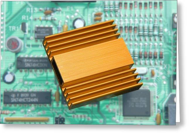 Central Processing Unit Greeting Cards - Microchip Processor Heat Sink Greeting Card by Sheila Terry