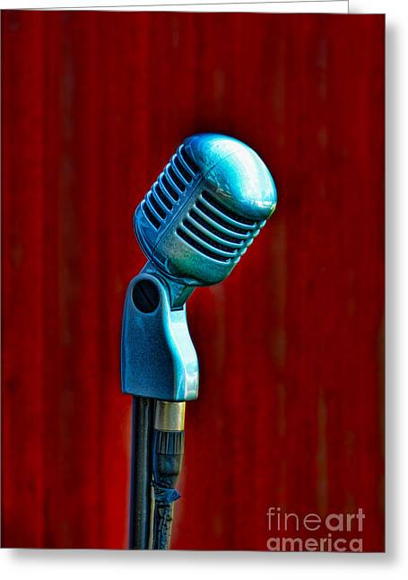 Greeting Cards - Microphone Greeting Card by Jill Battaglia